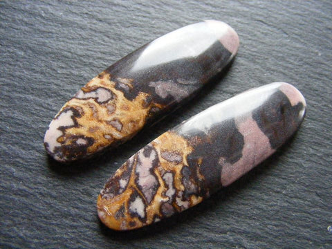 Picasso Jasper Oval Cabs - Matching Pair