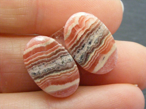 Rhodochrosite Oval Cabs - Matching Pair
