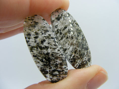 Black Dot Rutile Quartz Oval Cabs - Matched Pair
