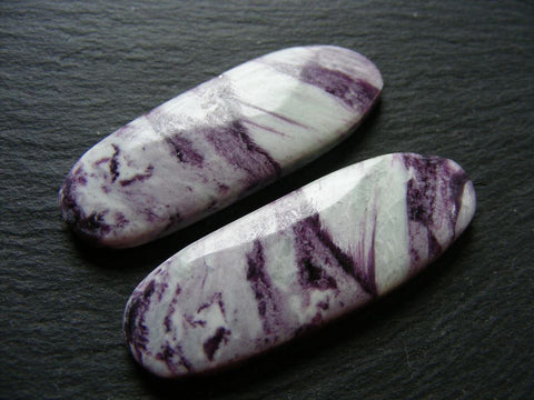 Purpurite Long Oval Cabs - Matching Pair