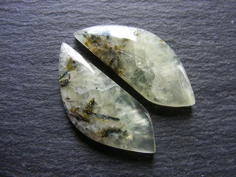 Prehnite Fancy Cabs - Closely Matching Pair