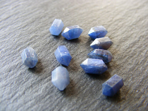 Blue Sapphire Double Terminated Hexagonal Crystal Cabs