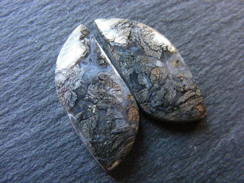 Matching Pair of Marcasite Fancy Cabs