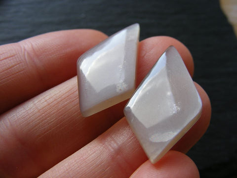 Grey Moonstone Fancy Cabs - Matching Pair