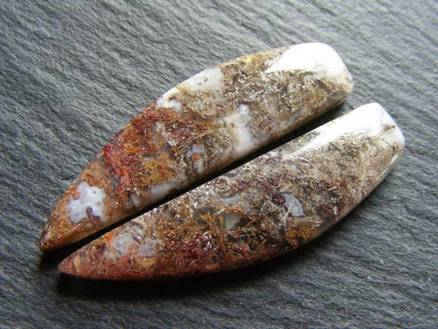 Moss Agate Fancy Cabs - Pair