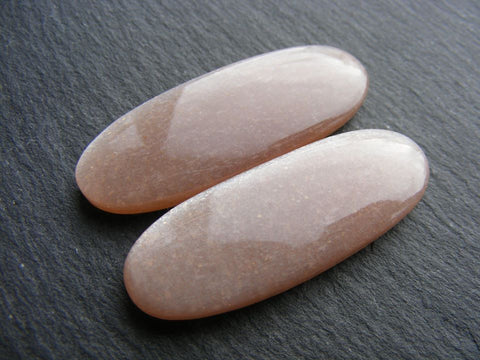 Peach Moonstone Oval Cabs - Matching Pair
