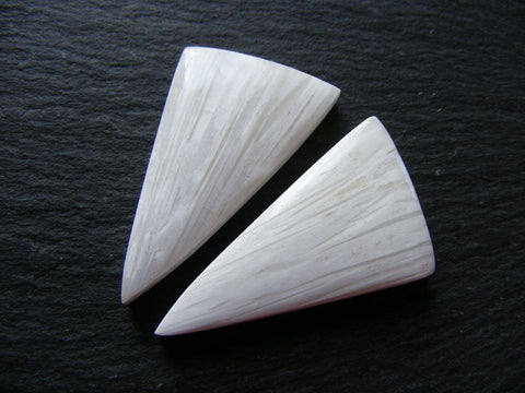 Scolecite Triangular Cabs - Pair