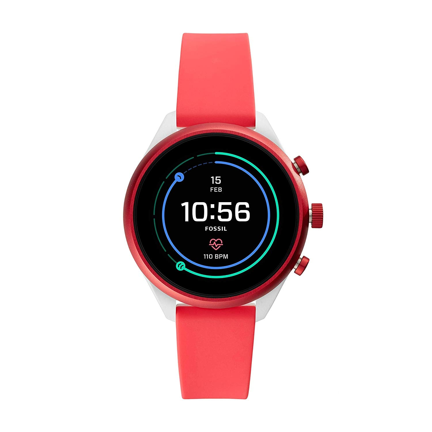 Fossil Women's Gen 4 Sport Heart Rate Metal and Silicone Touchscreen Smartwatch