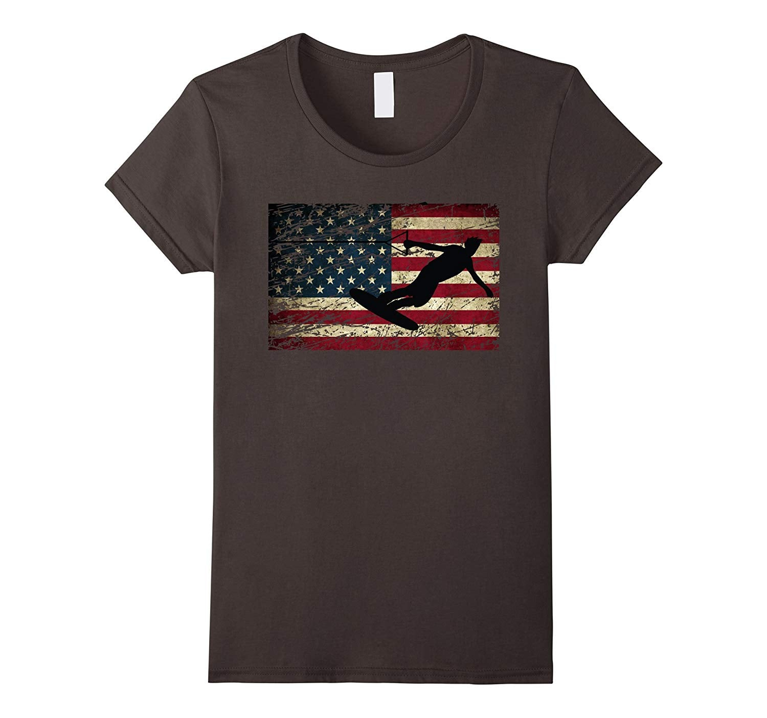 USA Flag Wakeboarding T Shirt Wakeboarder T-Shirt, Womens Cut