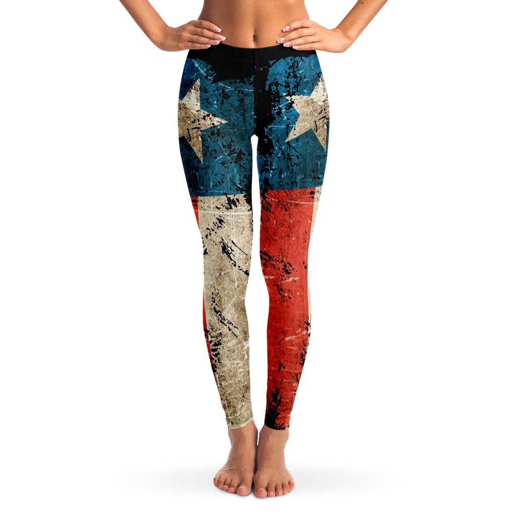 wills1mulisha Distressed Texas Flag Super Functional Leggings