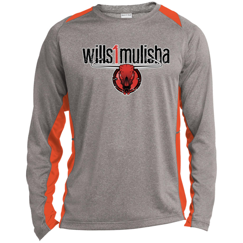 wills1mulisha Sport-Tek LS Heather Colorblock Poly T-Shirt