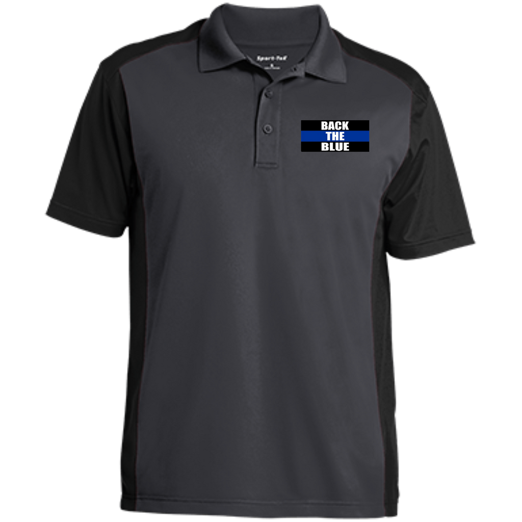 wills1mulisha BACK THE BLUE Men's Colorblock Sport-Wick Polo