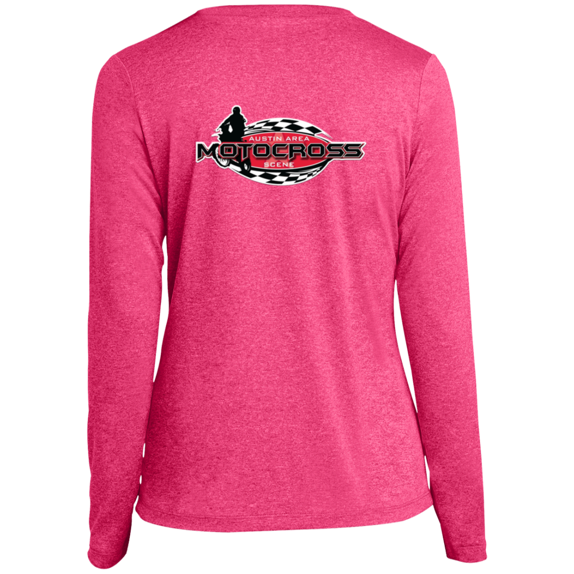 wills1mulisha Austin Area Motocross Scene Sport-Tek Ladies' LS Heather Dri-Fit V-Neck T-Shirt
