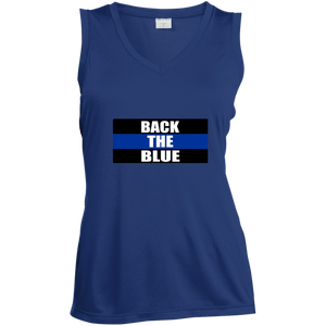 wills1mulisha BACK THE BLUE Ladies' Sleeveless Moisture Absorbing V-Neck