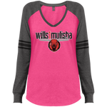 wills1mulisha District Made Ladies' Game LS V-Neck T-Shirt