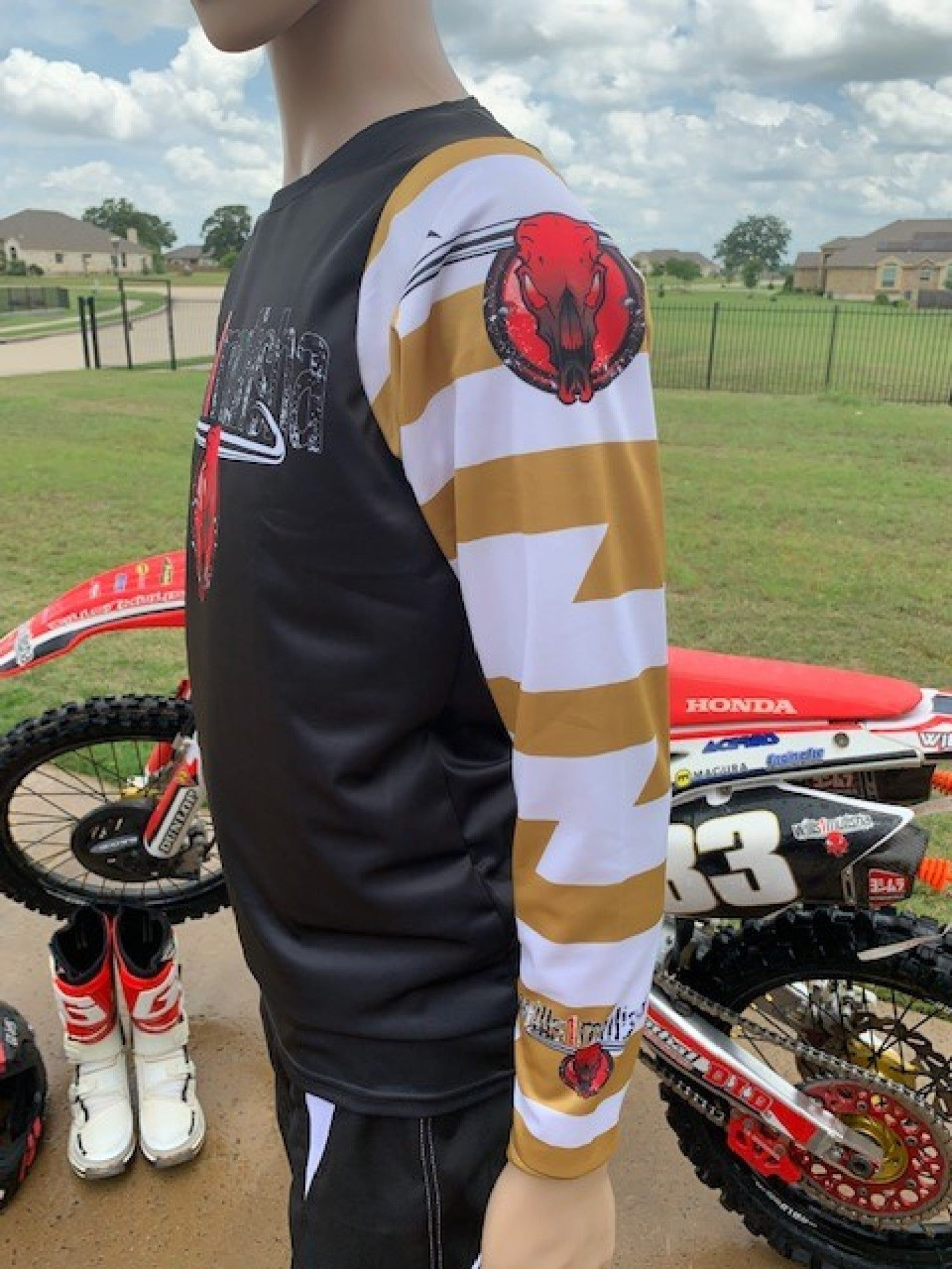 wills1mulisha MotoX Signature, Made In USA, Motocross Jersey With Name/Number, Gold Lightning