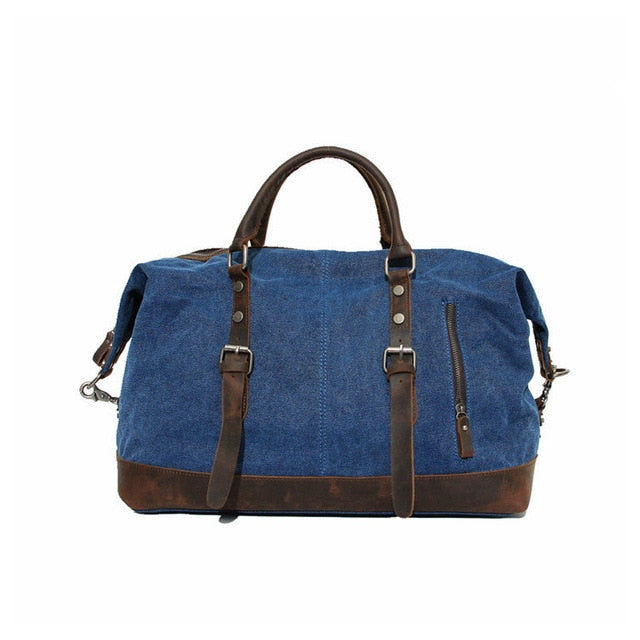 Vintage Military Canvas Leather Big Duffle, Bag Men Travel Bags