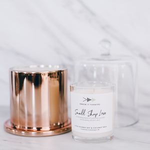 SMALL SHOP LOVE luxury rose gold 12 oz bell jar candle