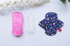 reusable pads next to disposable pads