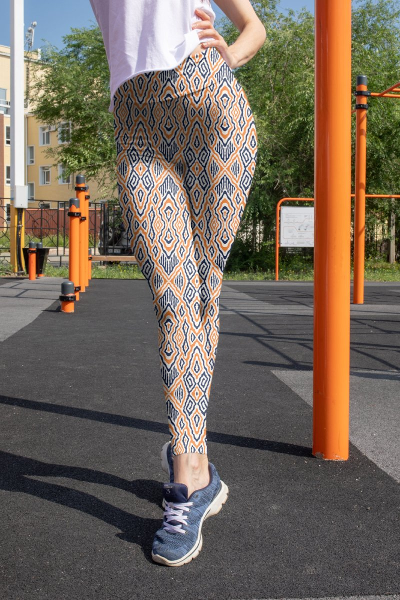 Navy & Orange Leggings
