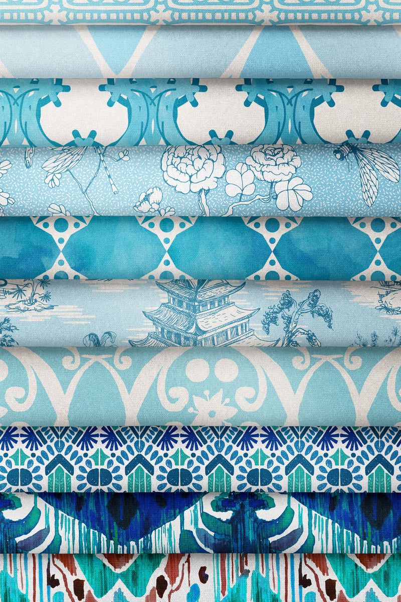 Hope Gardens Fabric, Color Turquoise