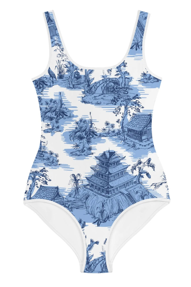 Juniors Blue Pagoda Swimsuit