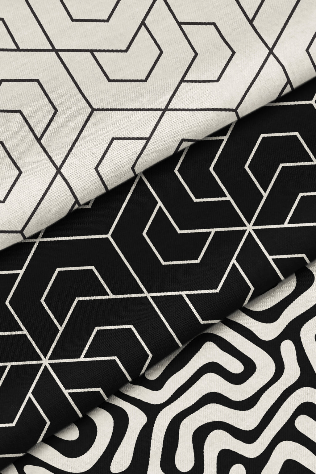 Stacked Hex Black on Cream Fabric