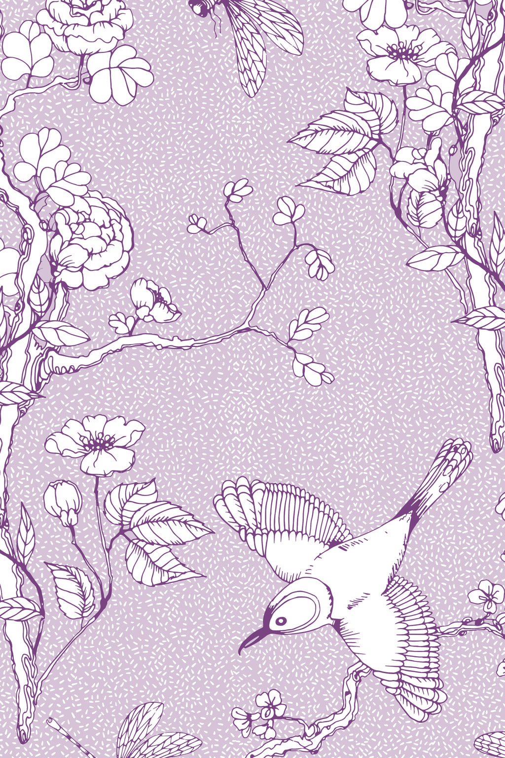 Chinoiserie Blossom Fabric, Color Lavender