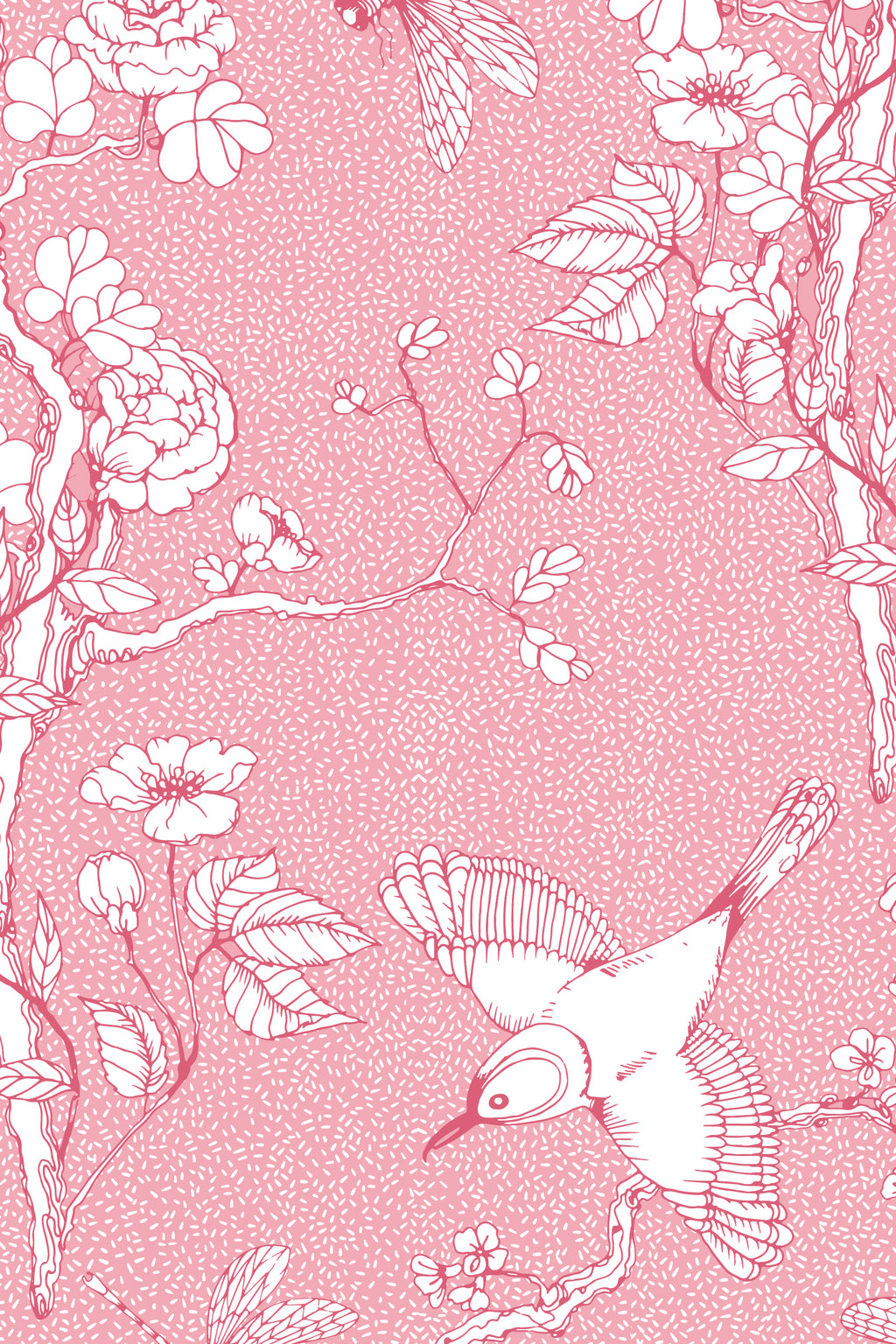 Chinoiserie Blossom Fabric, Color Pink