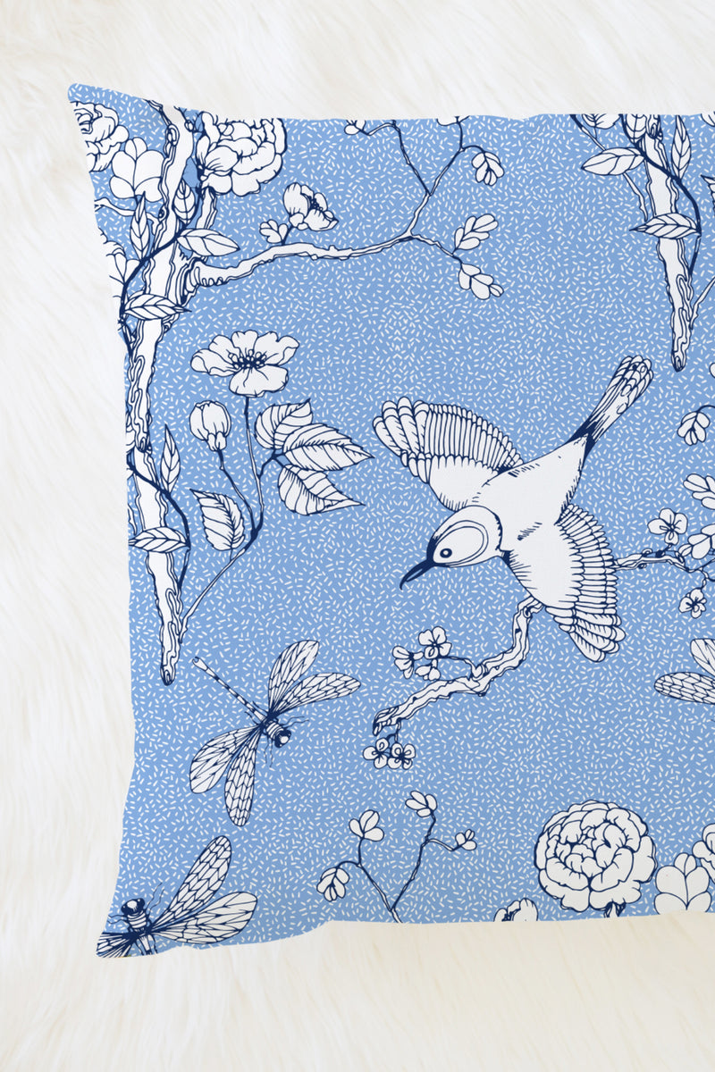 Blossom Chinoserie Pillow, Color Blue