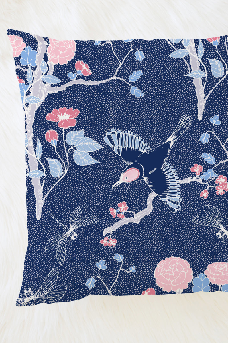 Blossom Chinoserie Pillow, Color Navy