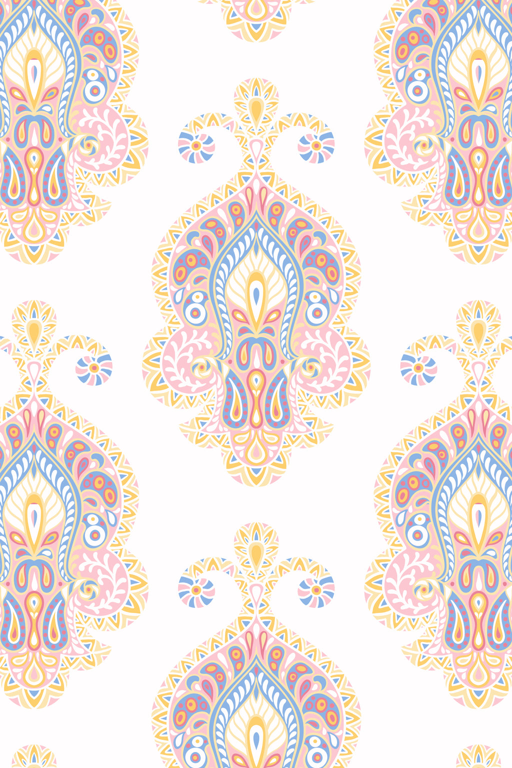 Paisley Pillow, Color Pink/ Yellow/ Blue