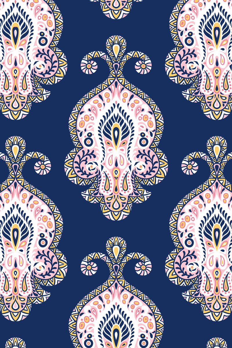 Paisley Pillow, Color Navy