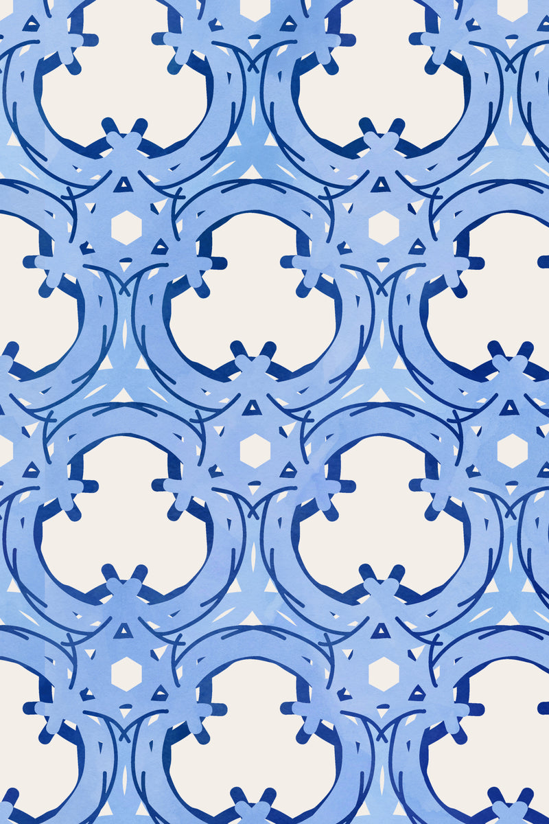 Trellis Blue Wallpaper