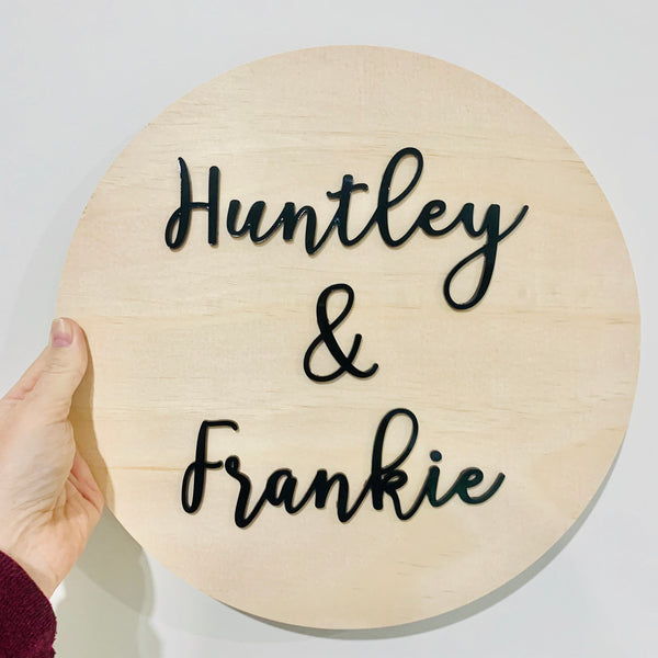 Timber and Acrylic Name Sign