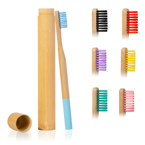 Bamboo Toothbrush with Travel Case, Soft Head
