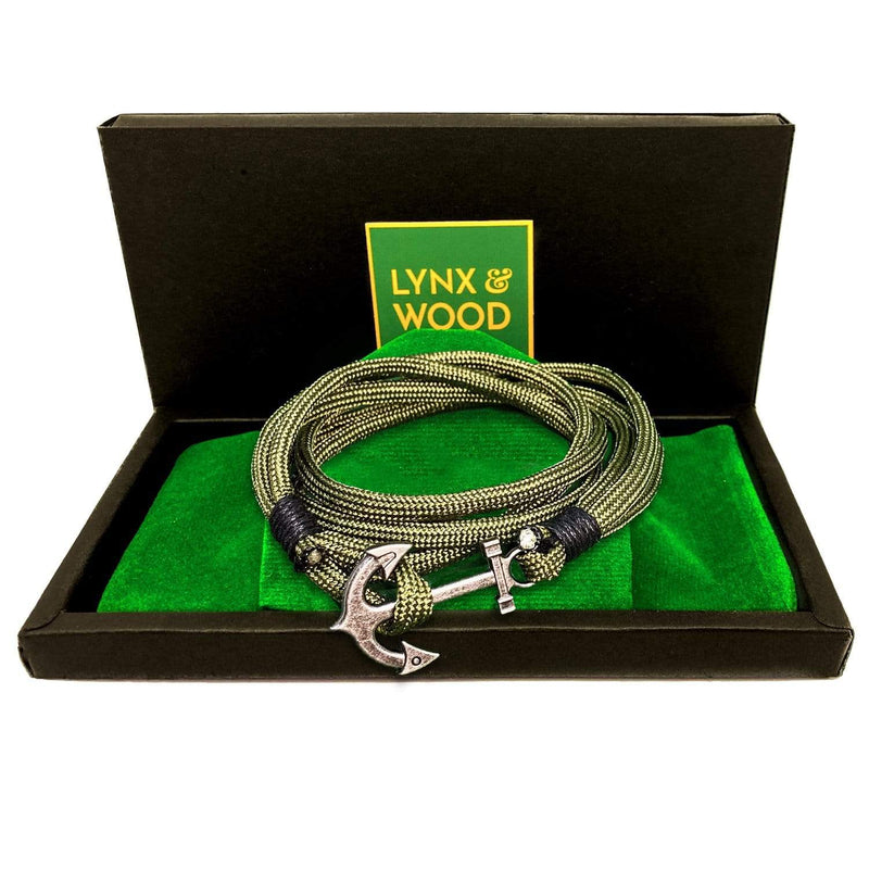Lynx & Wood Jewelry The Bearded Anchor Bracelet – Army Green