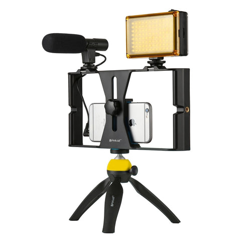 Handheld Phone Vlogging Setup Video Stabilizer with LED light,Microphone for iPhone 8 7plus for Video Filmmaking
