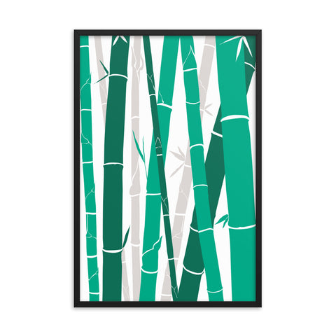 Bamboo Forest Design Print Framed