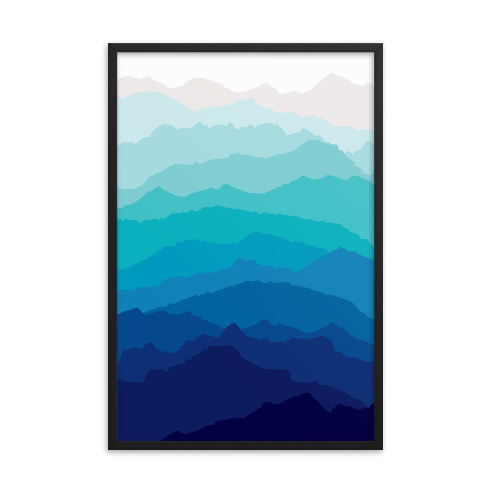 Blue Mist Mountain Design Print Framed