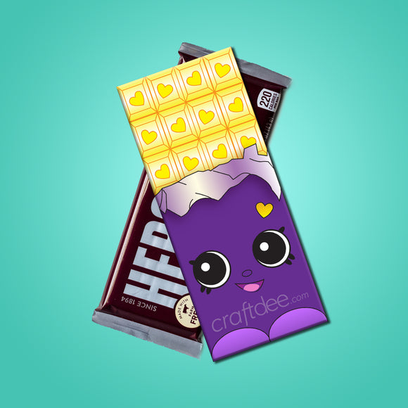 Cheeky Chocolate Wrappers PURPLE EXCLUSIVE - Shopkins Birthday Day Party