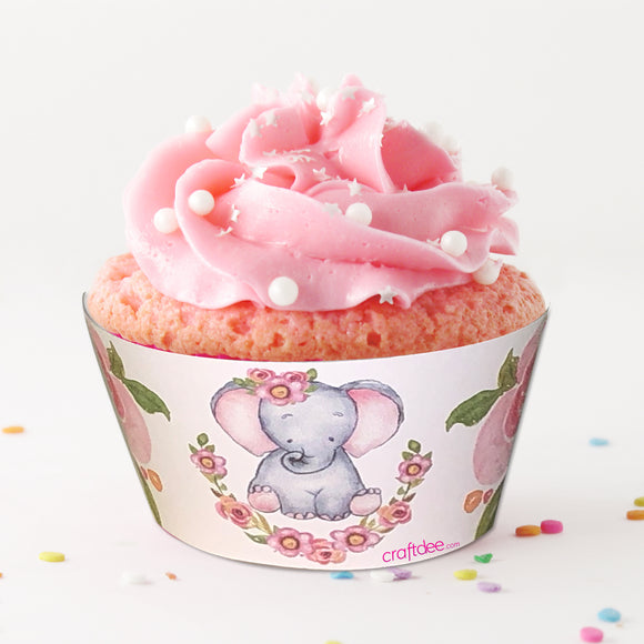 Baby Elephant Cupcake Wrapper - Pink