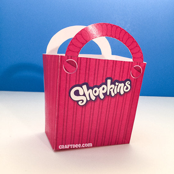 "6.75"" Printable Shopkins Shopping Bag in Pink"
