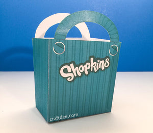 "6.25"" Printable Shopkins Shopping Bag in Teal - Shopkins Birthday Party"