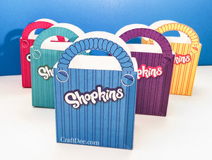 "5 - 6.75"" Printable Shopkins Shopping Bags - Shopkins Birthday Party"