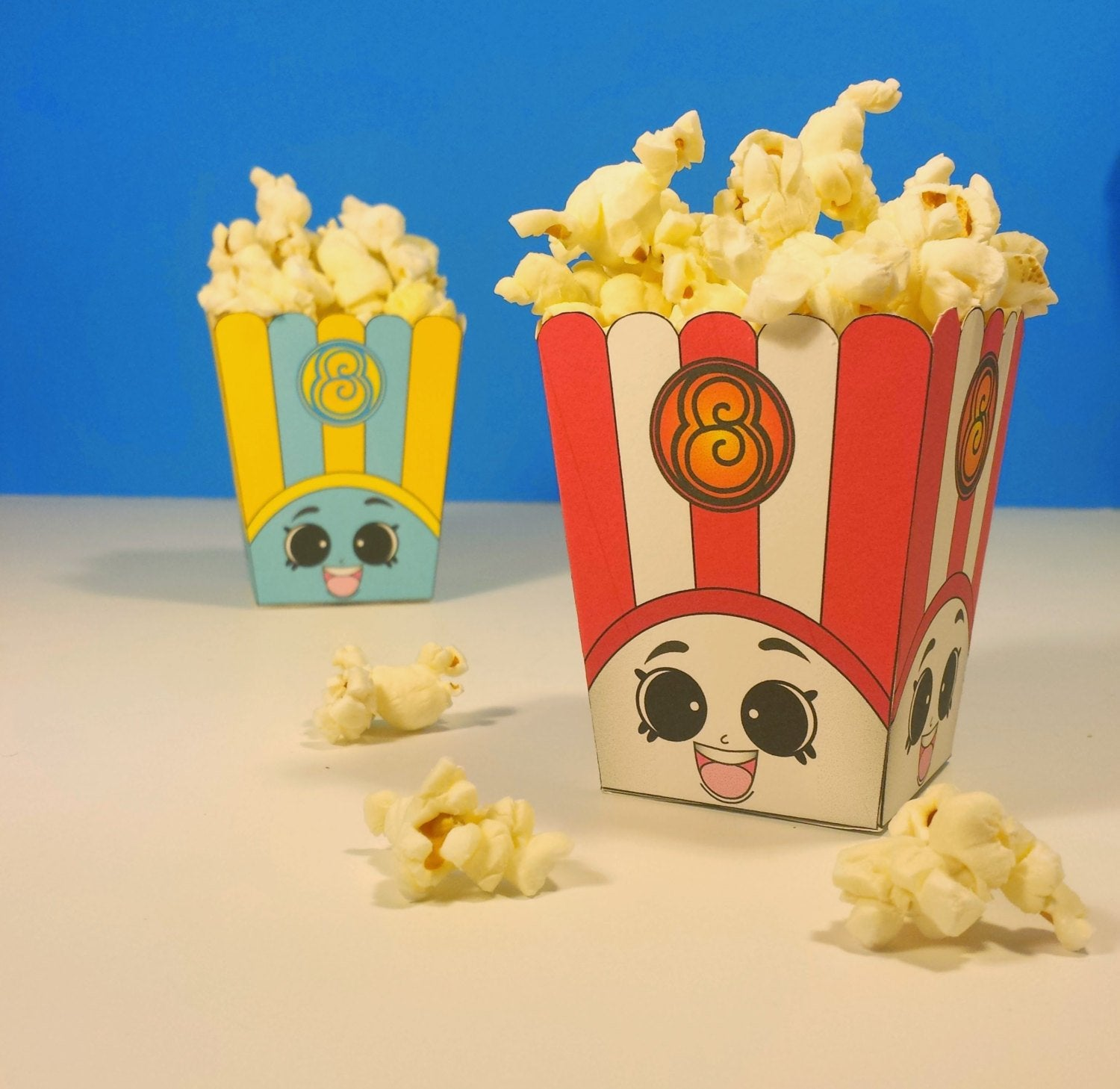 "3"" Poppy Corn Popcorn Boxes - Shopkins Birthday Party Red & Blue"