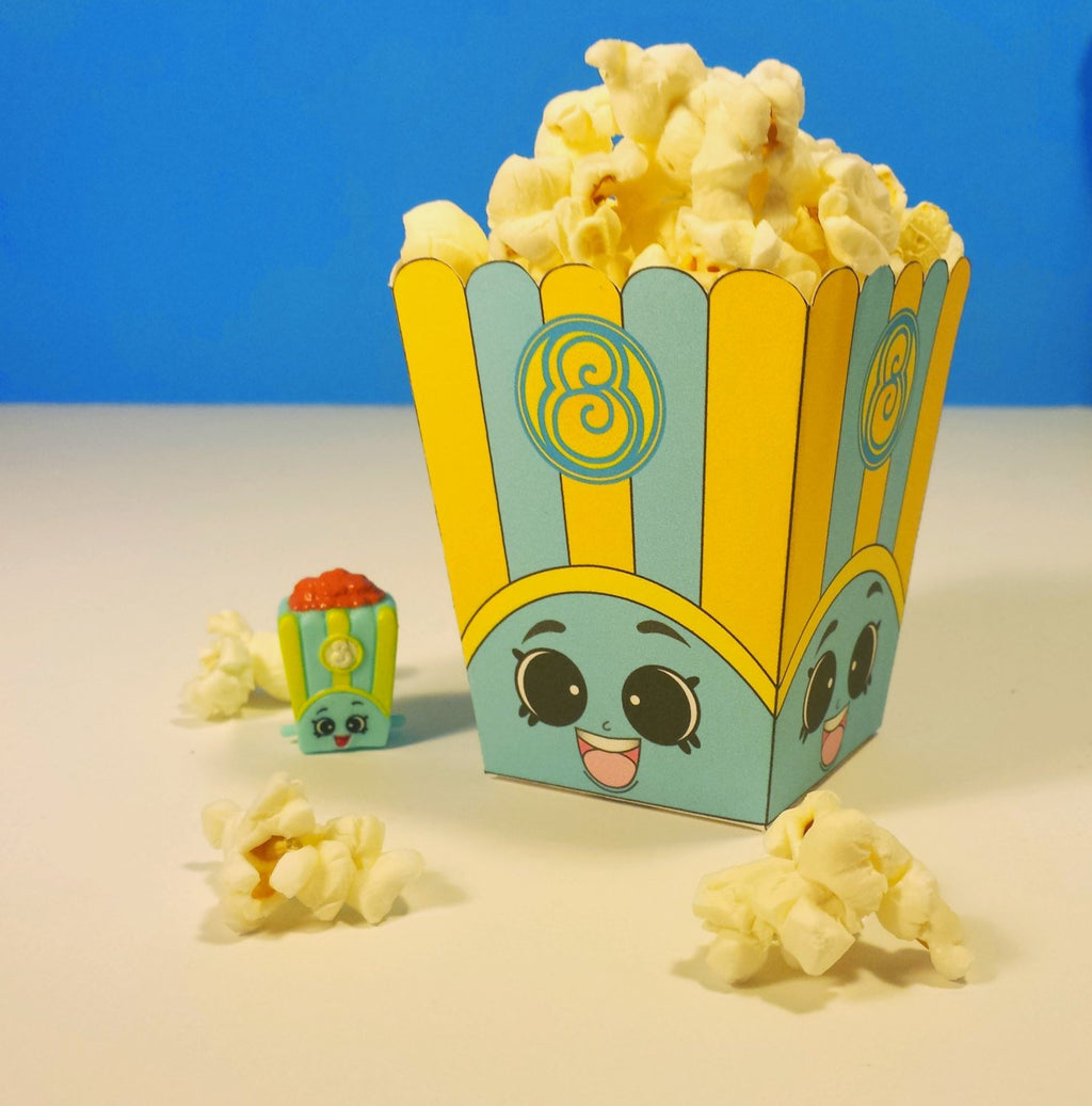 "3"" Poppy Corn Blue Popcorn Box - Shopkins Birthday Party"