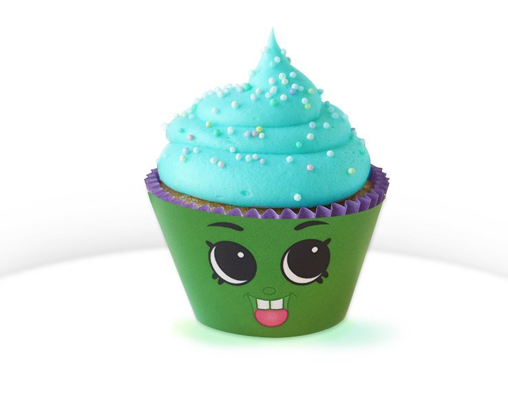 "1 1/2"" Green Cupcake Chic Cupcake Wrapper - Shopkins Birthday Party"