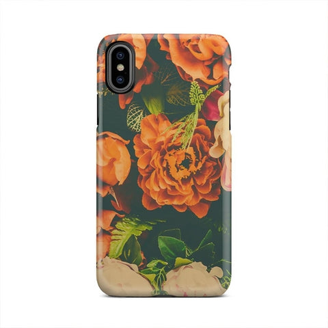 Classic Retro Rose Flowers Vintage iPhone X Case