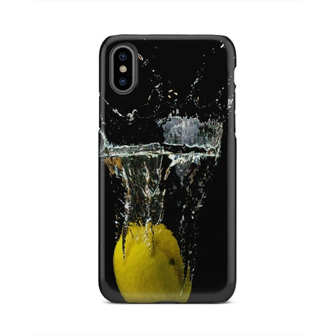 Bright Yellow Lemon Falling In Water iPhone X Case